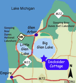 Big Glen Lake MI area map